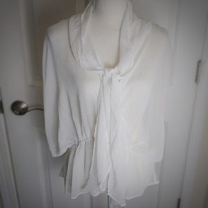 Sz XL Sheer White Batwing Tie Front Blouse